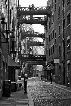 Shad Thames, London Docklands - right by Tower Bridge and a stone's throw from the river, you feel as if you have stepped back in time to the in this perfectly preserved London street - Photography by Rob Telford 2012 London City, Old London, South London, London Photography, City Photography, Building Photography, Cityscape Photography, Photoshop Photography, London Docklands
