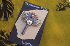 metal steampunk style pin. Statement key. on Etsy, $12.00