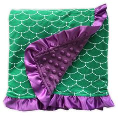 Green mermaid purple minky blanket to mix and match with our adorable outfits and optional matching Car Seat Canopy Measurements: 33 x 31 Material: Front: cotton, Back: pre-washed polyeste Mermaid Nursery, Mermaid Room, Baby Mermaid, The Little Mermaid, Mermaid Baby Nurseries, Baby Ariel, Girl Nursery, Minky Blanket, Everything Baby