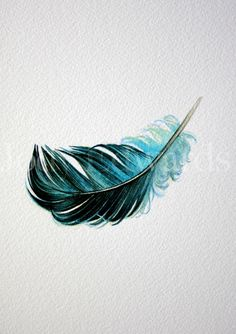 Skin Color Paint Watercolour Tattoos 32 Ideas For 2019 Watercolor Tattoo Feather, Feather With Birds Tattoo, Feather Drawing, Feather Art, Feather Design, Blue Feather, Blue Bird, Blue Green, Arrow Tattoos