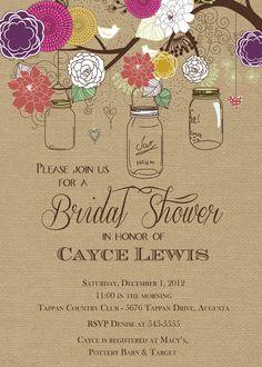 Rustic Mason Jar Tree Multi-colored with Burlap Bridal Shower Invitation - Printable
