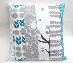 Modern Quilted Decorative Pillow Cover Bella by fieldofroses -- So simple, but the fabric choice makes it look fresh and modern.