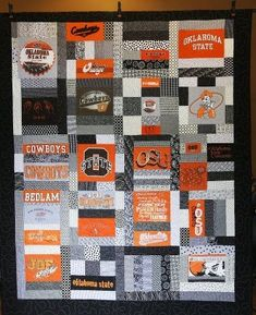 College Quilt for nephew graduation. Baseball Quilt, Jersey Quilt, Sports Quilts, Recycled Fashion, Recycled Clothing, Quilting Projects, Sewing Projects, Quilting Ideas, Sewing Ideas