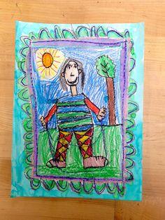 Draw a person, grade 2, crayon and watercolor.