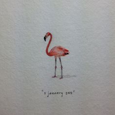 Day 9 : A pink flamingo for Angie. 22 x 13 mm. #365paintingsforants #miniature #watercolour #flamingo