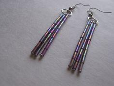 Purple Metallic Bugle Bead Dangle Earrings by Creationsbylaceyjane