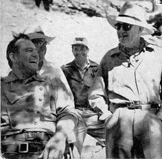 John Wayne and John Ford enjoy a laugh in Monument Valley.