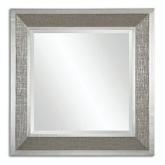415 Roman Beveled Square Wall Mirror with Metallic Silver Wrapped Frame ** Be sure to check out this awesome product.