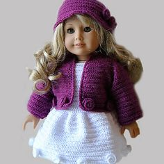 Ravelry: Crochet Pattern - American Girl Doll Clothes 24 - Jacket, dress and hat pattern by Susanne Fågelberg
