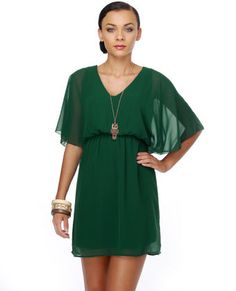 Forest green party dress. I think I would actually look good in this!