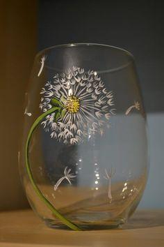 Glass Van Gogh - Dandelion Wine Glass | The Pottery Factory - Linda Medina loves this #WineGlasses