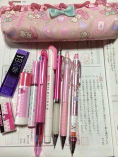 Stationary School, Cute Stationary, Japanese Aesthetic, Pink Aesthetic, Cute Pens, Cute School Supplies, Study Inspiration, Softies, Sanrio