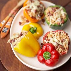 You won't be able to resist these peppers filled with rice, beans, and Monterey Jack cheese. More healthy one-dish dinners: http://www.bhg.com/recipes/healthy/dinner/heart-healthy-one-dish-dinners/?socsrc=bhgpin07171peppers=7