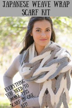 Make this beautiful Japanese Weave Wrap scarf with this kit.  High quality alpaca yarns and easy to follow directions. #fashion #japanese #wrap #scarf #knit #ad #diy Scarf Knit, Crochet Scarves, Scarf Wrap, Crochet Hats, Knitting Projects, Knitting Patterns, Homeade Gifts, Woven Wrap, Inspirational Gifts