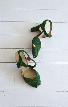 Good Life heels vintage 1930s shoes green 30s by DearGolden