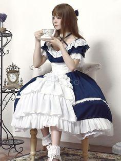 Lolita Wedding Dress OP One Piece Colorful Fairytale Lace Bow Ruffled Cross Front Lolita Dress Harajuku Fashion, Kawaii Fashion, Lolita Fashion, Cute Fashion, Fashion Outfits, Op One Piece, Mode Mori, Mode Lolita, Pelo Anime