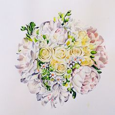 Pastel bouquet in watercolour by Pip Spiro