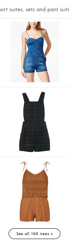 """""""short suites, sets and pant suites"""" by thesassystewart on Polyvore featuring jumpsuits, rompers, denim, denim romper, playsuit romper, denim rompers, blue rompers, sweetheart romper, dresses and playsuit"""