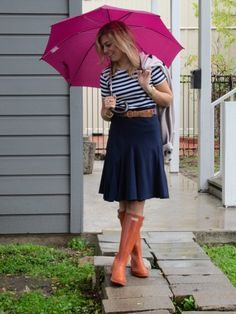 Such a cute look.  Can get navy and white at www.stripedshirt.com $24.50 Navy And White, My Heart, Style Me, Cute Outfits, Girly, Stripes, Navajo, Skirts, Wordpress