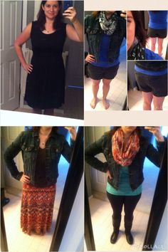 """B/S/T finds! Top left: Gilli Ruched Detail Dress, black (L). Bottom left: Anjuli Dark Wash Jean Jacket from Fix #1 (L, probably could have exchanged for M), brown v-neck, STS Blue Seren Ikat Print Maxi Skirt (L). Top right: Jacket, blue crew neck, Loft scarf, grey Level 99 Cindie Linen Shorts (L/30). Need shorts in M!!! Bottom right: Jacket, tank, Sanctuary ponte pants, boots, new infinity scarf! I love it all but am nervous BF won't like the shorts. He's a """"butt guy"""" and they aren't too…"""