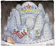 "Columbus (@ColumbusDM) | Twitter |   🎢 ""Trumpinator"" por @wuerker vía @politico #CaricaturaDelDía #Cartón #Moneros #BuenViernes #Trump #EUA #100días #Política"