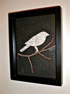DIY Bird Art.  From vintageafterthoughts.blogspot.com.