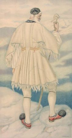 NICOLAS SPERLING #20 - Villager's Costume (Parnassos) Greek Traditional Dress, Traditional Outfits, Historical Costume, Historical Clothing, Ancient Greek Costumes, Greek Men, Greek History, Greek Culture, Costume Collection