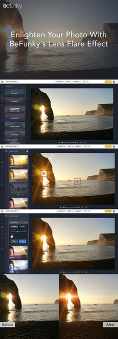 Add realistic lens flares to your photography in seconds with BeFunky's NEW Lens Flare Effects   http://blog.befunky.com/lens-flare/
