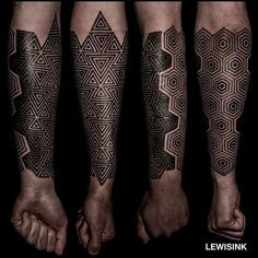 Geometric half-sleeve. (via IG - lewisink) #geometric #blackwork #pointillism #dotwork #halfsleeve #lewisink
