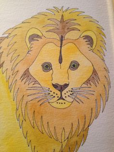 Lion and Elephant Original Watercolors Framed by BasementOnTheHill, $60.00