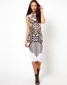Image 4 of ASOS Foil Print Body-Conscious Midi Dress