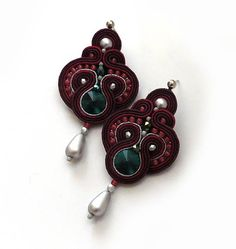 Burgundy cranberry earrings soutache earrings sparkle by sutaszula