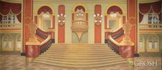 Interior of a grand ballroom with staircase in the center, windows with drapery and ornate decorations.Set the perfect stage for live performances of tales as old as time. This Grand Ballroom backdrop from Grosh Backdrops and Drapery is an ideal background for scenes in popular titles like Beauty and the Beast, The Phantom of the Opera, The Sound of Music, and many others. The backdrop design highlights an imperial staircase inside a palace whose main color schemes are maroon, marigold, and…