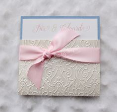 Ivory, pink and blue wedding invitation. To order go to my Facebook page: Keepsakes by Ingrid