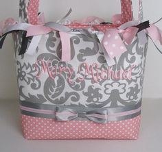 Monogrammed Grey Amsterdam with Pink Diaper by sassygatormonograms