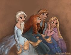 Elsa, Merida, Anna, Rapunzel by Willowwaves94