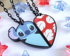 Lilo and Stitch BFF Necklace Set by HappysCharms on Etsy Disney Stitch, Lilo Ve Stitch, Long Chain Necklace, Necklace Set, Bff Necklaces, Statement Necklaces, Bracelets, Cute Stitch, Cute Jewelry