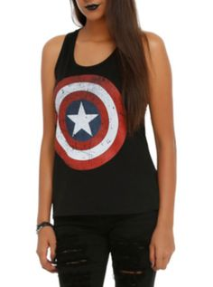 Marvel Captain America Logo Girls Tank Top
