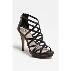 Vince Camuto 'Cabanna' Sandal Black 9 M. A recessed platform and wrapped heel lift the lattice straps of a back-zip cage sandal. Color (s) : ......[$117.95]