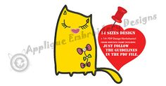 Cat with Bows Embroidery Applique Design Pretty Kitty