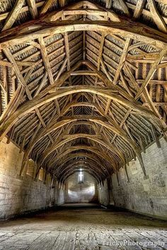 Interior of Tithe Barn, near Bath, England. Built in the early century. Timber vaulted ceiling typical example of medieval architecture. Country Barns, Old Barns, Country Living, Amazing Architecture, Architecture Design, English Architecture, Wooden Architecture, Architecture Office, Classical Architecture