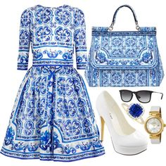 Blue & White by carolineas on Polyvore featuring polyvore, fashion, style, Dolce&Gabbana, Michael Antonio, OMEGA and Ray-Ban