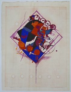 Hodaka Yoshida (1926-1995 Japanese) ''Kite'' 1966 Woodblock Print 25.5''x19'' Sheet
