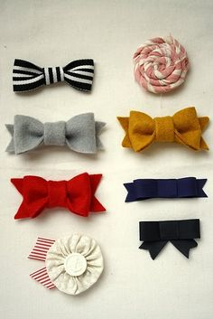 DIY bows-Can just use scrapbook ribbon, make a bow & add w clip to it.