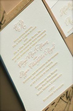 Letterpress Wedding Invitations DEPOSIT Hand Calligraphy Monogram Pocketfolds