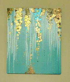 Peinture métallisée ruisselle de cette toile Dimensions : 20 x 24 x 1,5 pouces Couleurs : Sarcelles, aquas, blancs, métalliques cuivre, métalliques médailles dor, métalliques bronze & metallic blues. La qualité visuelle des peintures métalliques dans cette peinture texturée est magnifique & brille à la lumière. Peinture est signée au bord inférieur. Côtés de la toile sont peints donc votre nouvelle peinture est prête à suspendre. Expédition : Chaque peinture est soigneusement emballé…