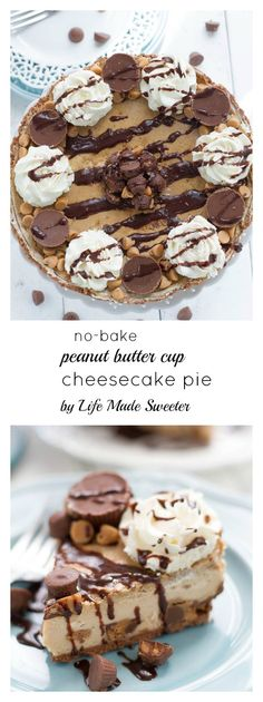 No-Bake Peanut Butter Cup Cheesecake Pie - easy & delicious dessert with a rich creamy filling. Perfect for sharing at a party or potluck and best of all, it's SO easy to make!