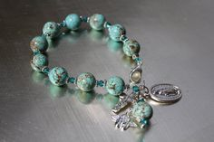 Turquoise and Crystal Catholic Rosary Bracelet.