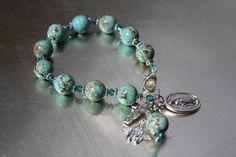 Turquoise and Crystal Catholic Rosary Bracelet.