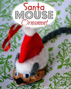 Santa Mouse Christmas Ornament Tutorial- Mom On Timeout. The best way to split walnuts: heavy duty utility knife inserted in seam and used to slowly pry shell apart. Christmas Ornaments To Make, Homemade Christmas, Christmas Projects, Holiday Crafts, Holiday Fun, Christmas Holidays, Christmas Ideas, Christmas Tree, Holiday Ideas